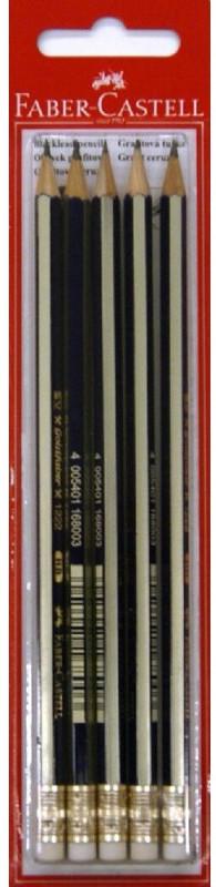 Чернографитовый карандаш GOLDFABER с ластиком, твердость HB, в блистере, 5 шт.