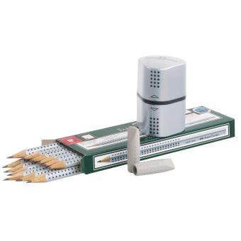 Чернографитовый карандаш GRIP 2001 с 2 ластиками - колпачками,точилкой, в картонной коробке, 12 шт.