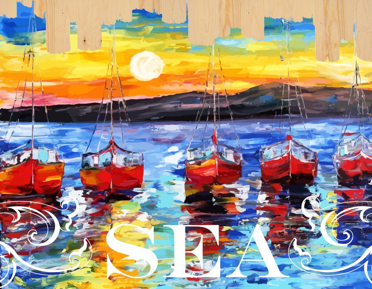 Раскраски по номерам на дереве. Ласковое море-картина по номерам на дереве (DER002) картина по номерам 80 x 120 см ra314