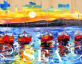 Раскраски по номерам на дереве. Ласковое море-картина по номерам на дереве (DER002)