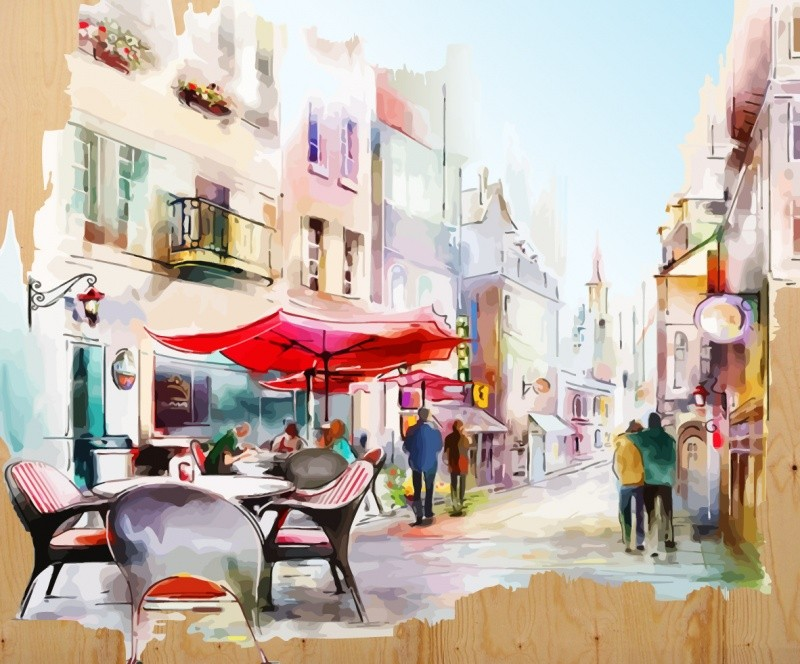 Раскраски по номерам на дереве. Уютная улочка- картина по номерам на дереве (DER003) картина по номерам цветной тм gx7844