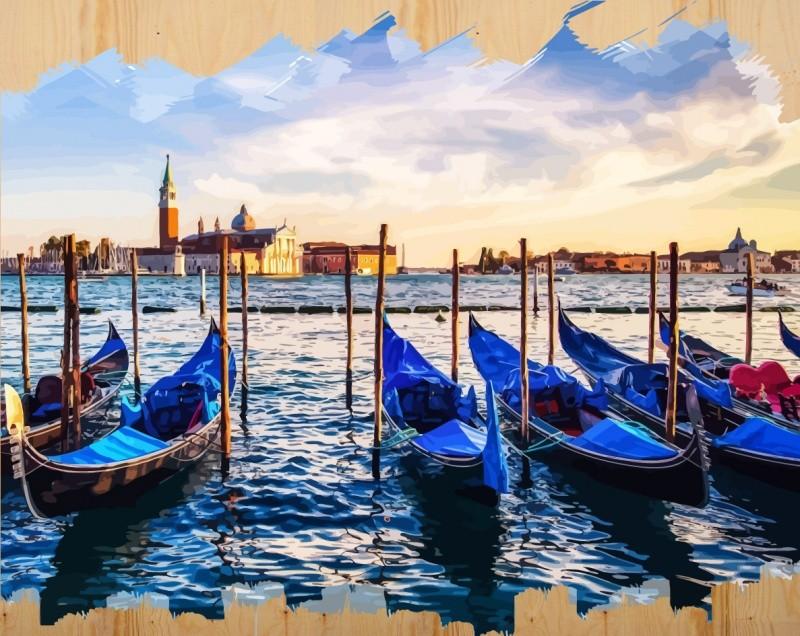 Раскраски по номерам на дереве. Набережная Венеции-картина по номерам на дереве (DER009) картина по номерам цветной тм gx7844