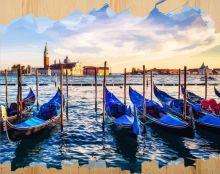 Раскраски по номерам на дереве. Набережная Венеции-картина по номерам на дереве (DER009)