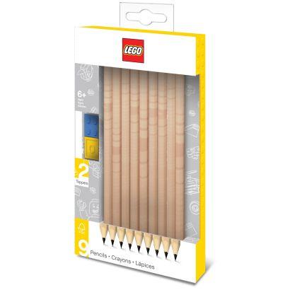 Набор карандашей (9 шт.) с 2 насадками в форме кирпичика LEGO (51504) - фото 1