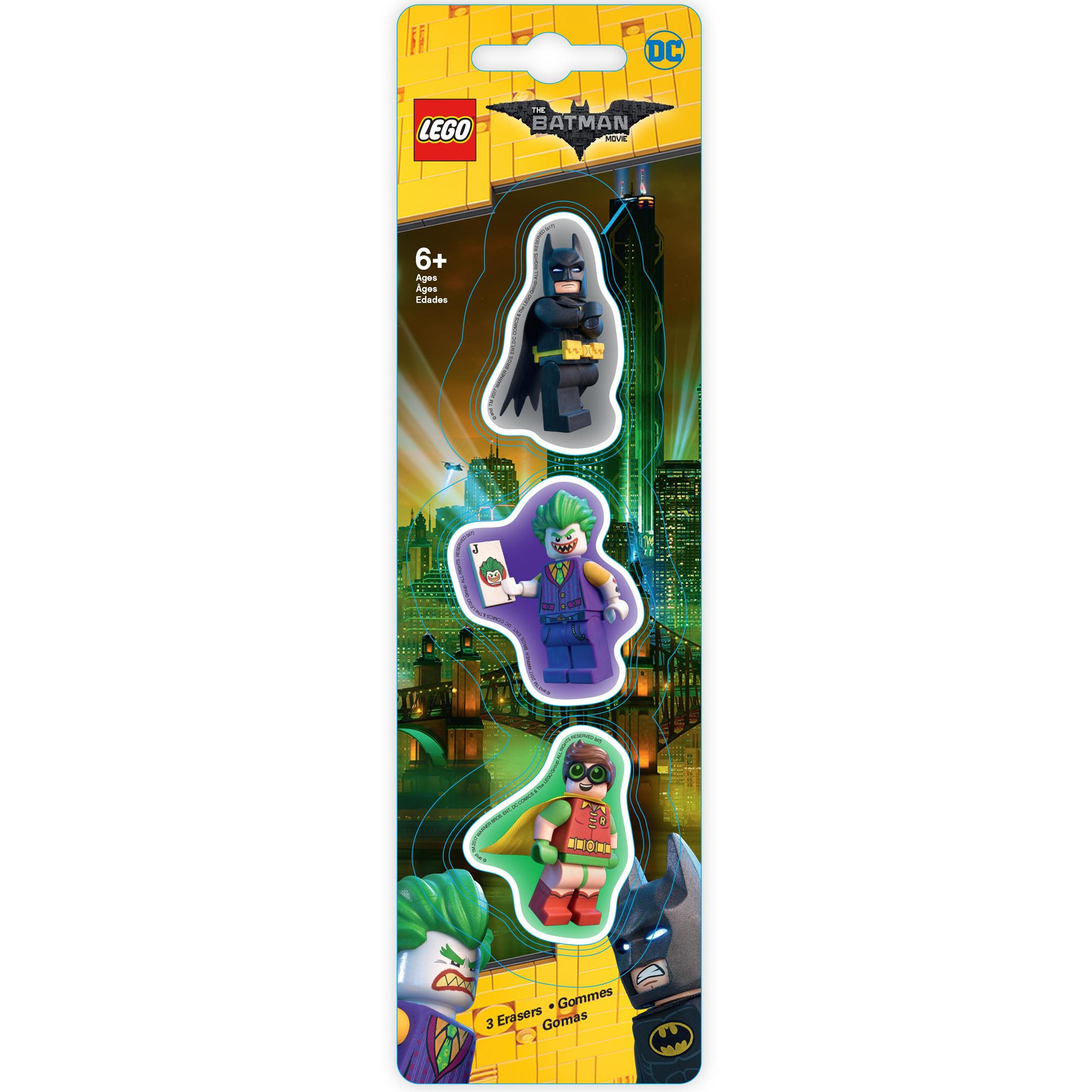 Набор ластиков (3 шт.) LEGO Batman Movie (Лего Фильм: Бэтмен)- Batman/Robin/The Joker (51760)