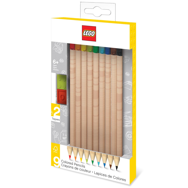 Набор цветных карандашей (9 шт.) с 2 насадками в форме кирпичика LEGO (51515) lego набор карандашей 6 шт lego nexo knights