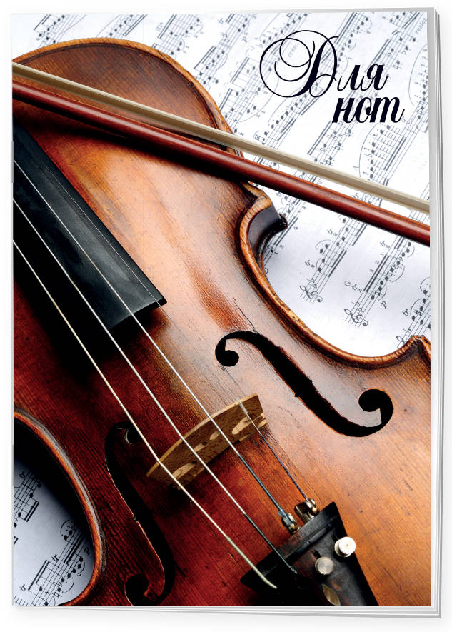 Тетрадь для нот 12л А4 Скрипка вертикальная, скрепка музыкальный сувенир нотная тетрадь а4 16 листов ноты бах цвет обложки белый