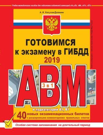 Копусов-Долинин А.И. - Готовимся к экзамену в ГИБДД категории АВM, подкатегории A1. B1 (по состоянию на 2019 год) обложка книги
