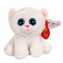 Котенок белый с голубыми глазками, 15 см
