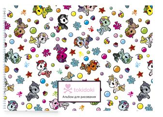 Вселенная tokidoki. Единорожки. Альбом для рисования (формат А4, офсет 160 гр., 50 страниц, евроспираль, с заданиями)