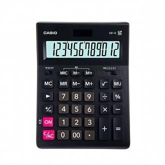 Калькулятор CASIO настольный GR-12-W-EP, 12 разрядов, двойное питание, 209х155 мм.