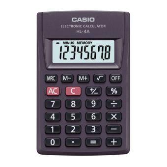 Калькулятор CASIO карманный, HL-4A-S-EP, 8 разрядов, питание от батарейки, 87х56 мм.
