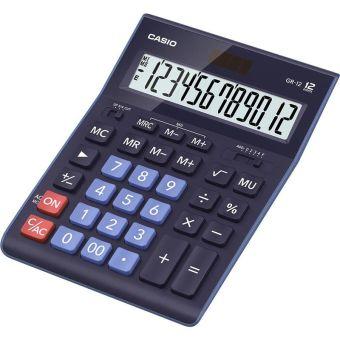 Калькулятор CASIO настольный GR-12-BU-W-EP, 12 разрядов, двойное питание, 209х155 мм. Синего цвета
