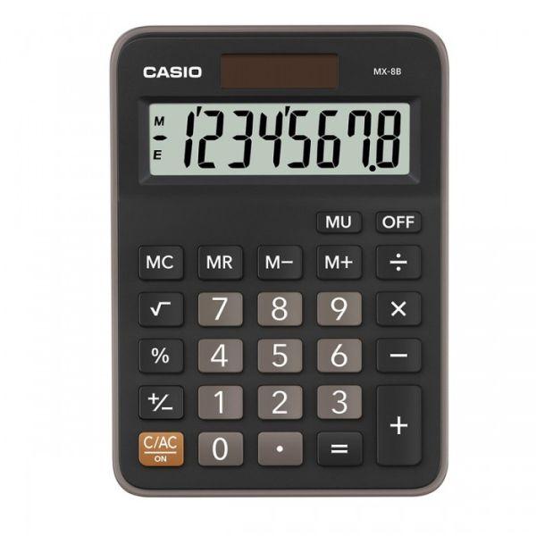 Калькулятор CASIO настольный MX-8B-BK-W-EC, 12 разрядов, двойное питание, 145х103 мм.