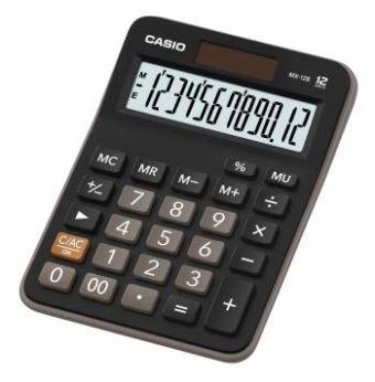 Калькулятор CASIO настольный MX-12B-W-EC, 12 разрядов, двойное питание, 145х103 мм.
