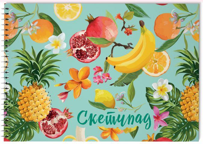 Тропические фрукты. Скетчбук (230х180мм, офсет 160 гр., 40 страниц, евроспираль)