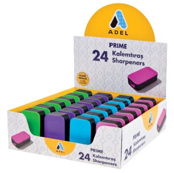 Точилка Prime черная, в ассортименте, в картонной коробке, 24 шт (Adel)