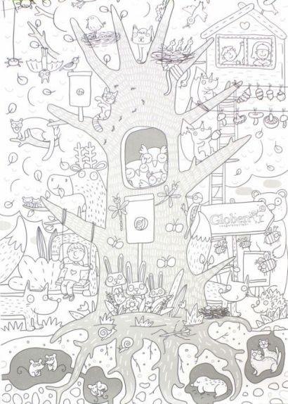 """Огромная раскраска """"Жизнь на дереве""""120х80см (упаковка: тубус-коробка с европодвесом) - фото 1"""