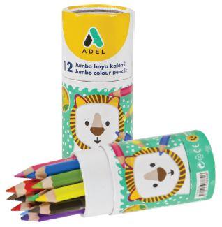 Цветные карандаши Adel Jumbo (укороченные), набор цветов, в алюминиевой тубе, 12 шт (Adel)