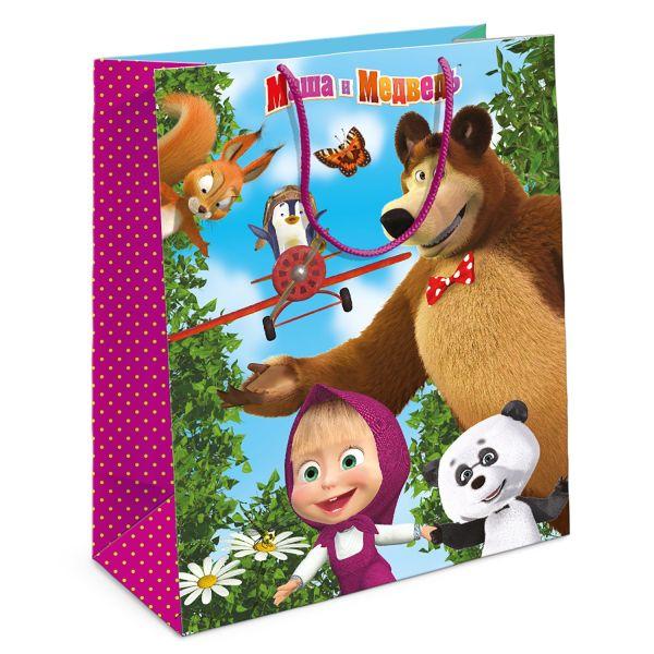 Маша и Медведь.Пакет подарочный,18х10х23 см Маша и Медведь