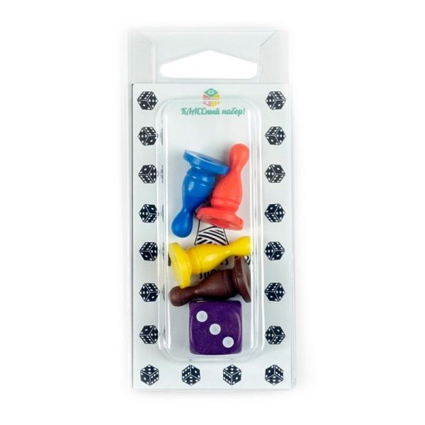 Набор фишки и кубик,  фигурный, цвета в ассортименте, фишка - 4 шт (высота 26 мм) , кубик -  1 шт (16 мм).
