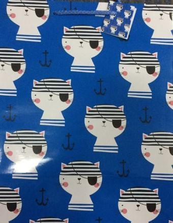 Пакет подарочный Коты-пиратым (L) 12 шт ПП-7417
