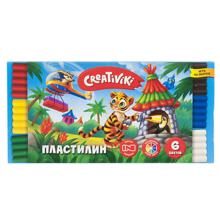 Пластилин Creativiki 6 цв. 90 г пластилин флюоресцентный 5 цв 64 г с европодвесом 12с764 08
