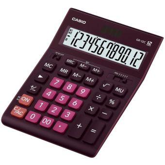 Калькулятор CASIO настольный GR-12C-WR-W-EP, 12 разрядов, двойное питание, 209х155 мм. Бордо цвета