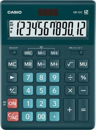 Калькулятор CASIO настольный GR-12C-DG-W-EP, 12 разрядов, двойное питание, 209х155 мм. Зеленого цвета