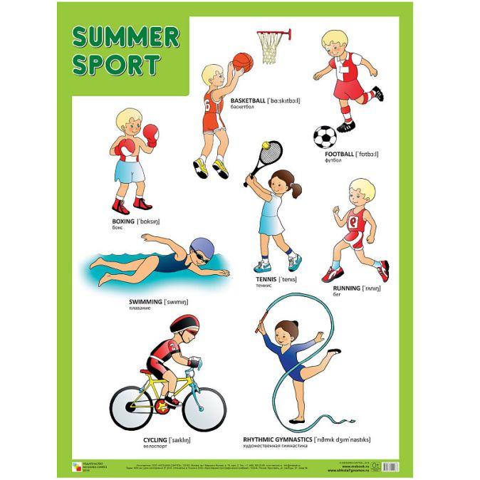 Плакаты (англ). Summer Sport (Летние виды спорта)