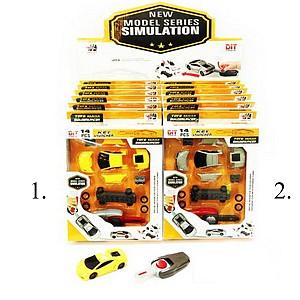 Конструктор Собери машинку, в наборе с пусковым устройством, 14 предметов в наборе, 2 цвета в ассортименте, 12шт в дисплейной коробке,