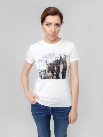 """Футболки женская """"Достоевский"""", 46 размер, цвет молочный"""