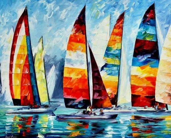 Алмазная картина 17х21. Радужные парусники-алмазная картина (MP001) кпр 013 фреска картина из песка радужные бабочки 20х23х4