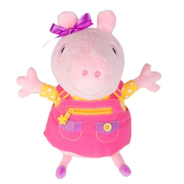 Свинка Пеппа. Мягкая игрушка Пеппа учит одеваться, звук. ТМ Peppa Pig Свинка Пеппа