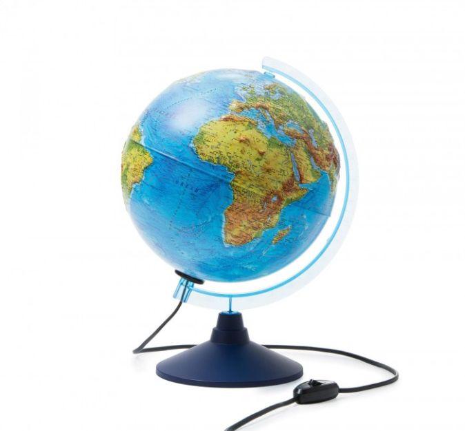 Интерактивный глобус Земли физико-политический рельефный с подсветкой