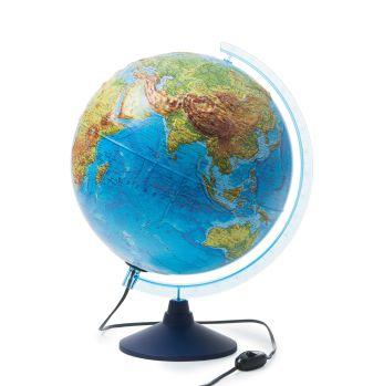 Интерактивный глобус Земли физико-политический с подсветкой рельефный
