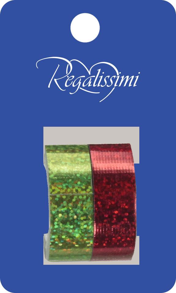 Набор декоративных клейких лент, 2 шт., на картонном подвесе, цвета: зеленый, красный, эффект: голография, размер ленты: 1,5 см х 3 м,  Non-branded