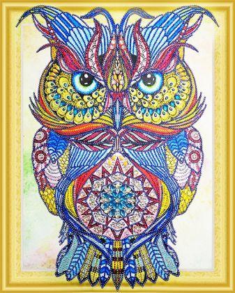 Фигурные стразы 3D. Драгоценная сова- алмазная картина с фигурными стразами (FKU007)