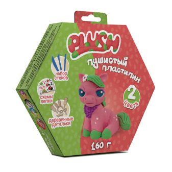 """Пушистый пластилин """"PLUSH"""" набор для лепки розовый + зеленый 160 г на европодвесе"""