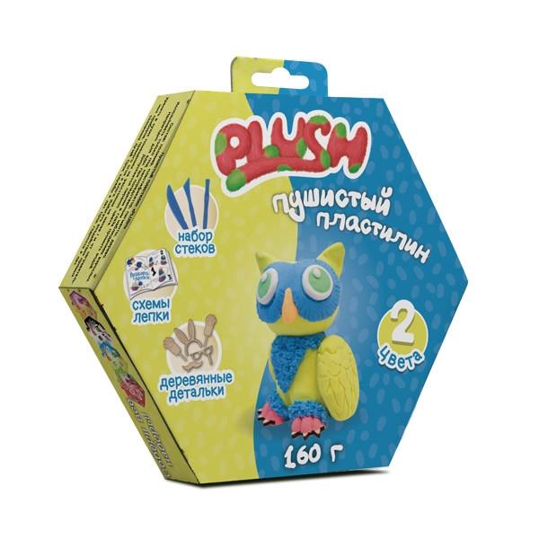 """Пушистый пластилин """"PLUSH"""" набор для лепки синий + желтый 160 г на европодвесе"""