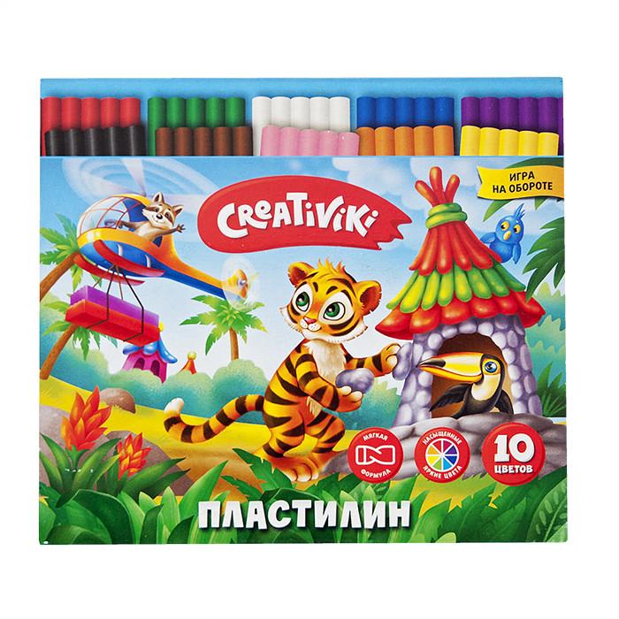 Пластилин Creativiki 10 цв. 150 г пластилин флюоресцентный 5 цв 64 г с европодвесом 12с764 08