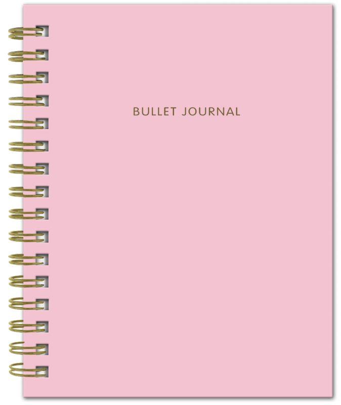 Bullet Journal (Розовый) 162x210мм, твердая обложка, пружина, блокнот в точку, 120 стр.