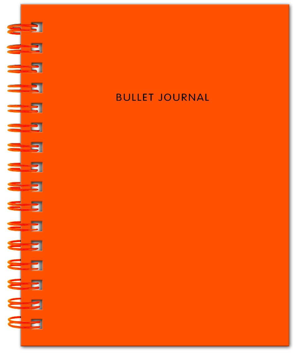 Bullet Journal (Оранжевый) 162x210мм, твердая обложка, пружина, блокнот в точку, 120 стр.