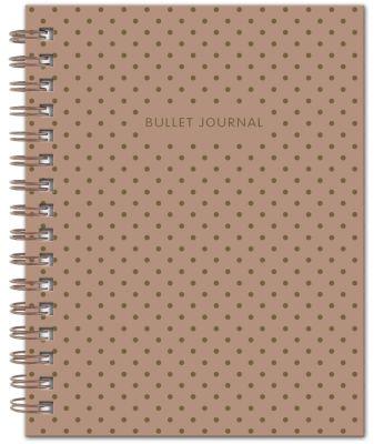 Bullet Journal (Коричневый) 162x210мм, твердая обложка, пружина, блокнот в точку, 120 стр.