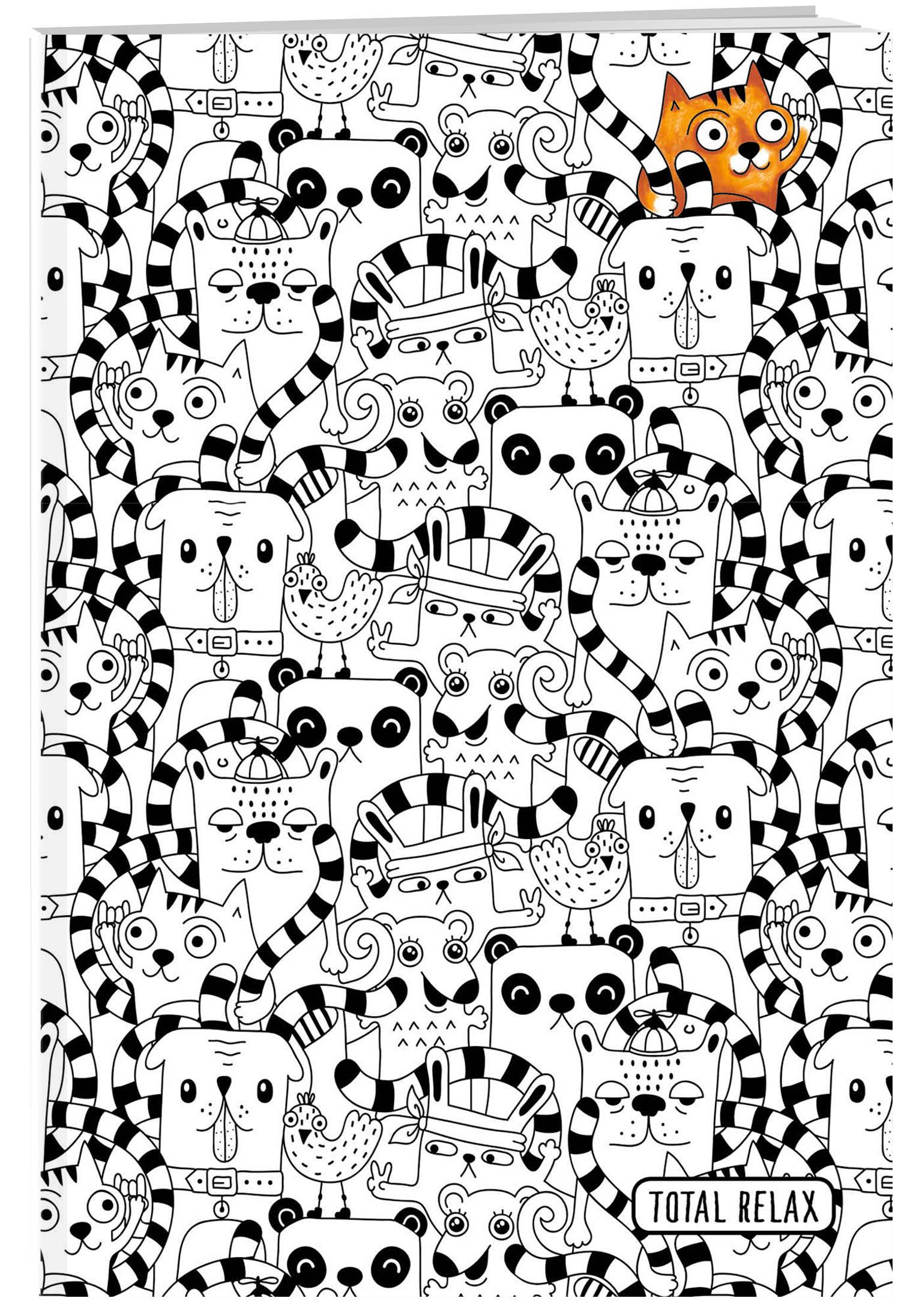 Тетрадь-раскраска животные. А5, 48 листов, клетка, накидка