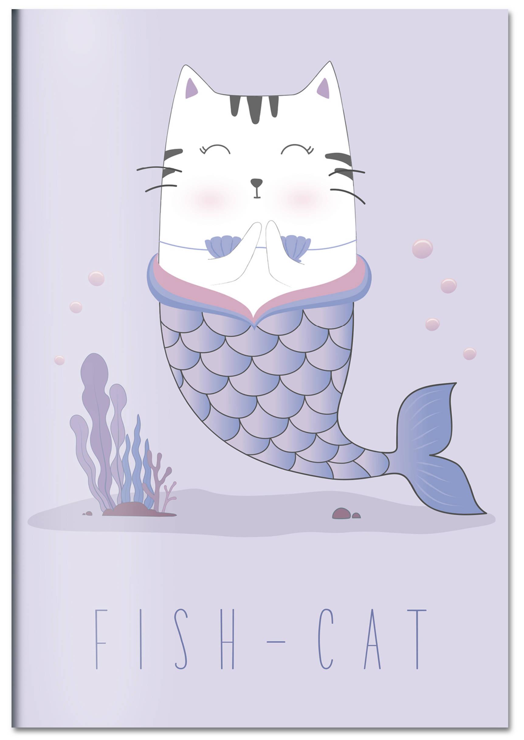 Fish-cat. Тетрадь общая (А5, 48 л., УФ-лак, накидка 4 п. полноцвет)