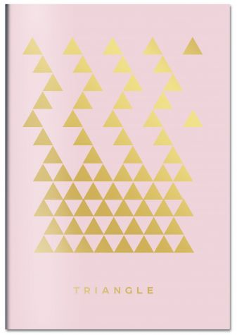 Triangle (розовый). Тетрадь общая (А5, 48 л., зол. фольга, накидка 4 п. полноцвет)