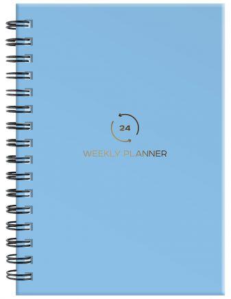 Блокнот-планер на пружине недатированный, А5, 128 страниц, голубой