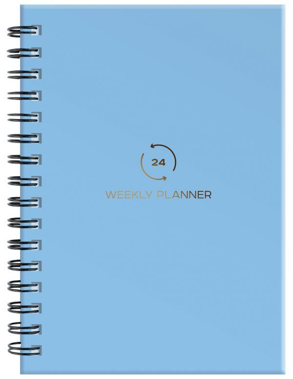 Блокнот-планер на пружине (голубой). А5, твердый переплет, фольга, недатированный, 128 стр. блокнот like crazy cat baby а5 64 стр