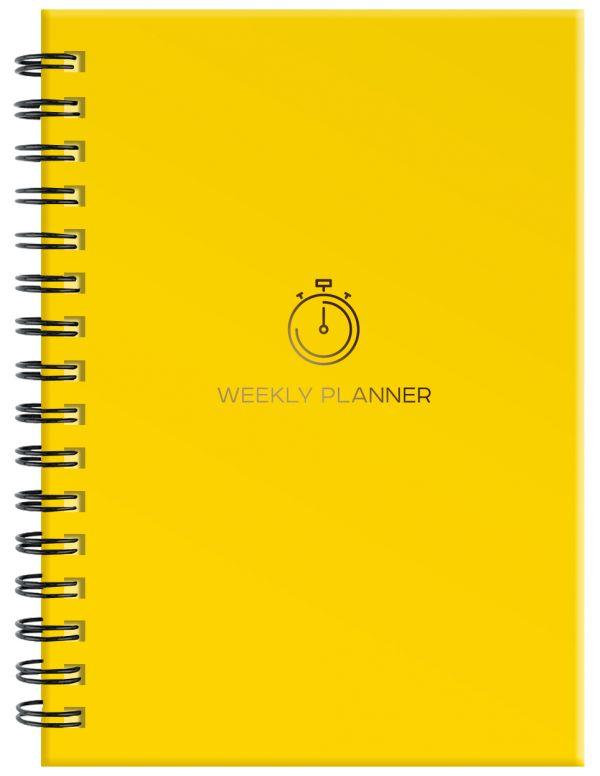 Блокнот-планер на пружине (желтый). А5, твердый переплет, фольга, недатированный, 128 стр. блокнот like crazy cat baby а5 64 стр